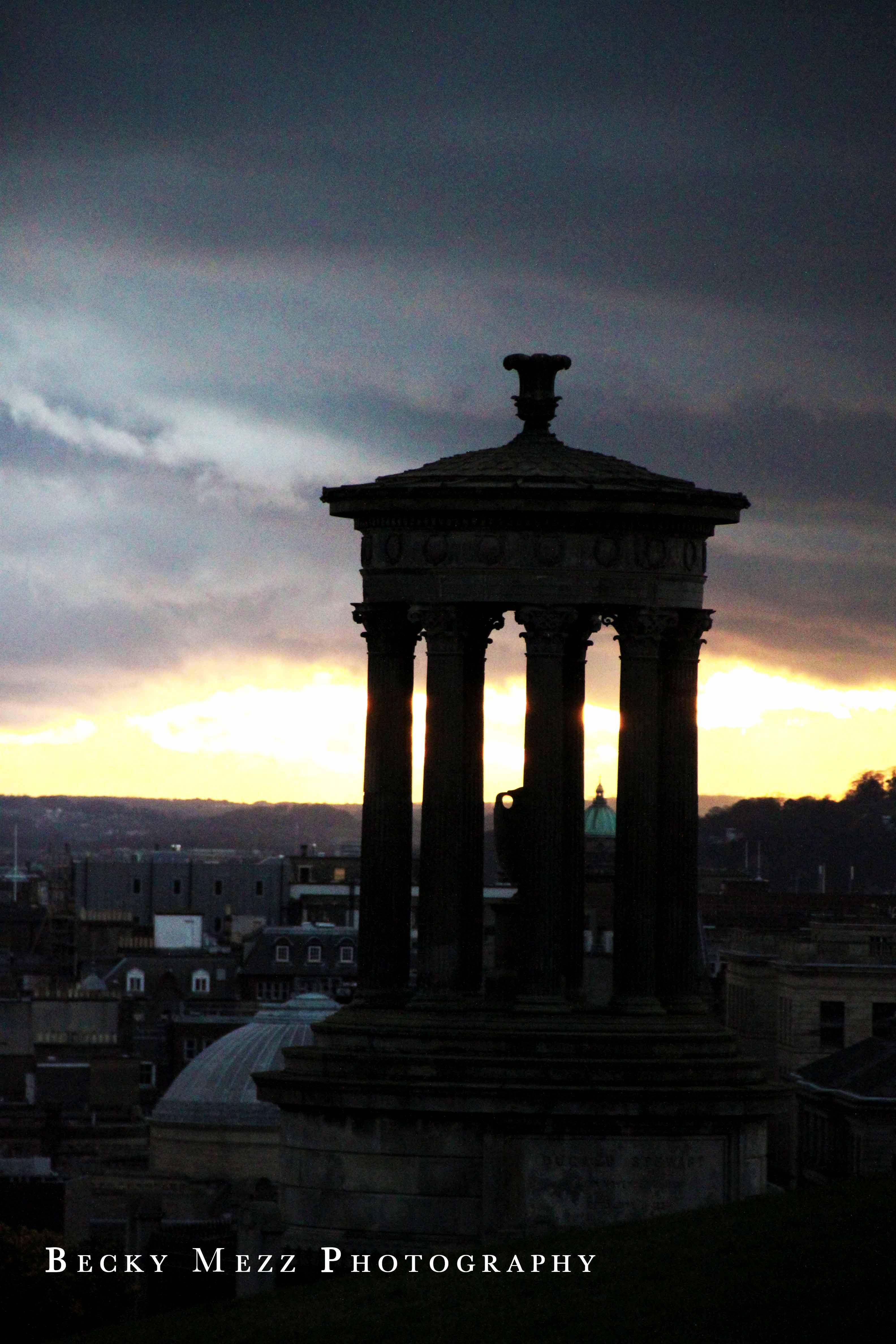 Cityscape of Edinburgh at sunset.