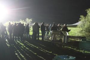 Crew on CSI at night