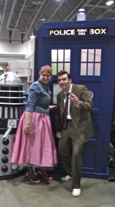 Becky and Geoff dressed as the Doctor and Rose