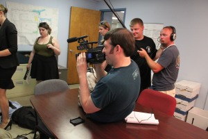 Camera Crew Shooting Scene in an Office