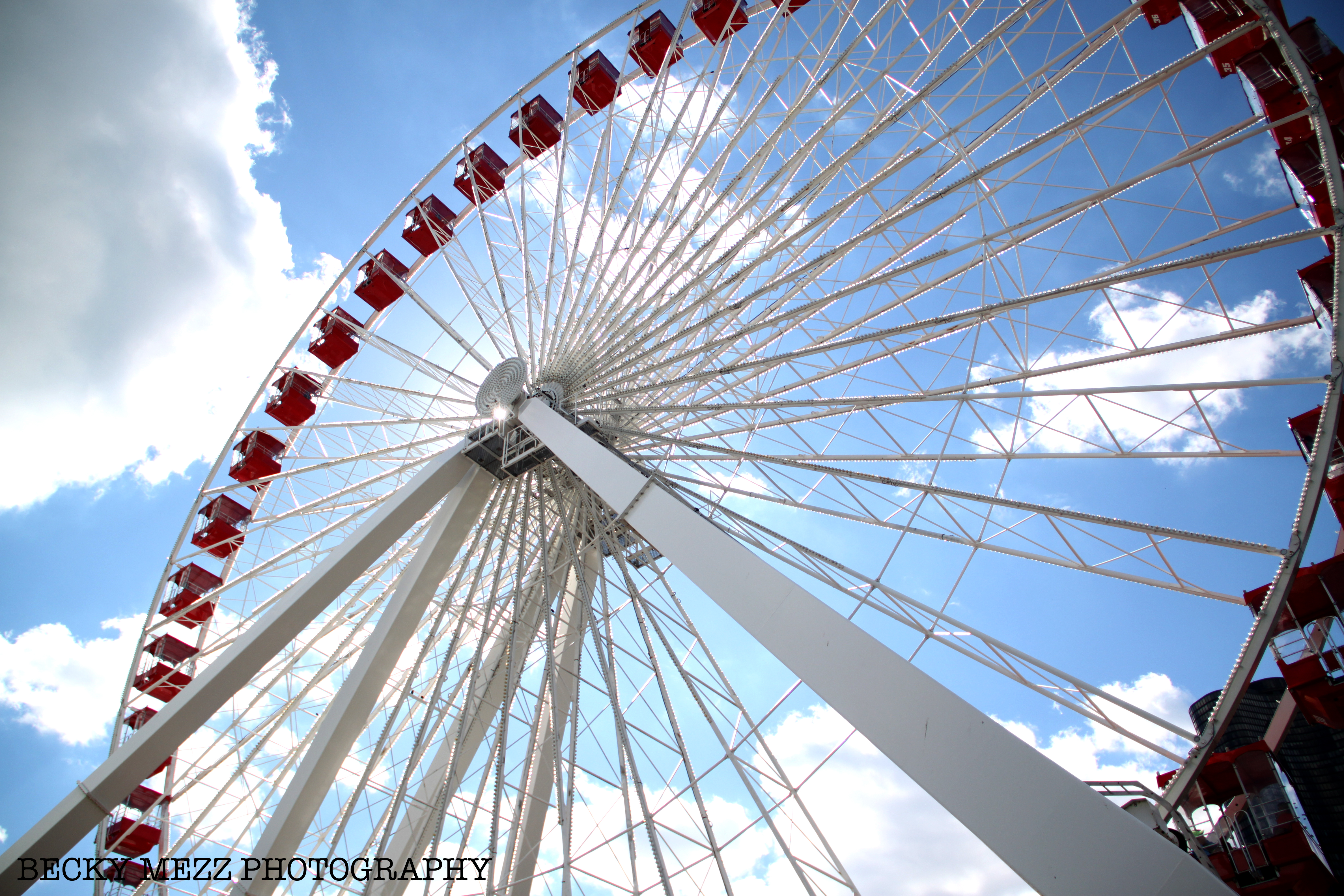 Photo of a Ferris Wheel looking up toward the sky.